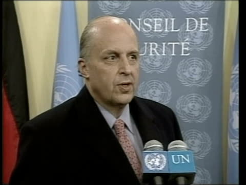 united nations diplomacy; itn new york: united nations: john negroponte press conference sot - an option available to us is a modest extension... - diplomacy stock videos & royalty-free footage