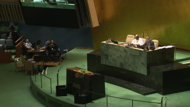 united nations general assembly: boris johnson speech to the un - cutaways; usa: new york: new york city: united nations: int boris johnson mp... - united nations general assembly stock videos & royalty-free footage