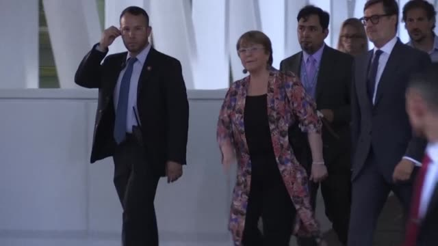 United Nations High Commissioner for Human Rights Michelle Bachelet arrives at the Simon Bolivar International Airport near Caracas for her visit to...