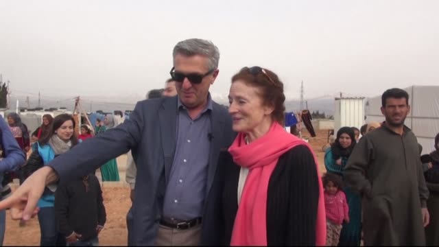 united nations high commissioner for refugees filippo grandi and henrietta fore unicef's executive director visited camps housing syrian refugees in... - executive director stock videos & royalty-free footage