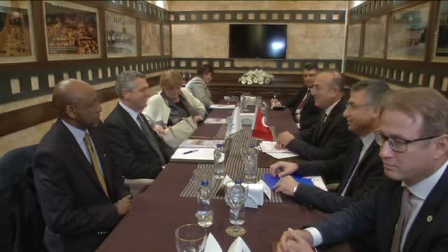 United Nations High Commissioner for Refugees Filippo Grandi meets with Turkish Foreign Minister Mevlut Cavusoglu in Turkey's Syria border city...