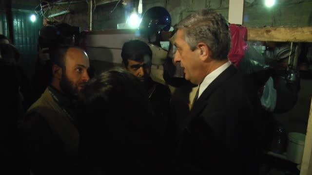 united nations high commissioner for refugees filippo grandi visits syrian refugees camp in ber hassan neighborhood of beirut lebanon on january 20... - シリア難民問題点の映像素材/bロール