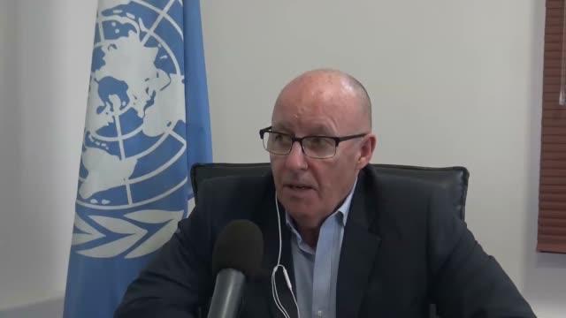 United Nations Humanitarian Coordinator in Yemen Jamie McGoldrick speaks at an interview in Sanaa Yemen on April 21 2017