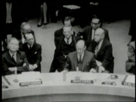 united nations meeting adlai stevenson questioning valerian zorin / new york city new york united states - adlai stevenson ii stock videos and b-roll footage