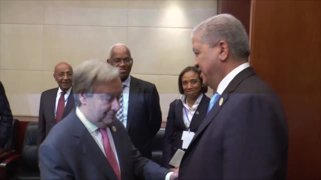 United Nations Secretary General Antonia Guterres meets with Prime Minister of Algeria Abdulmalik Sellal President of South Sudan Salva Kiir Mayardit...