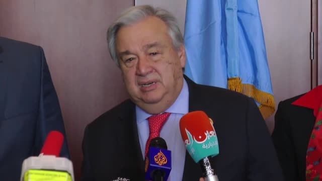 united nations secretary general antonio guterres and chairperson of the african union commission moussa faki mahamat speak during a joint press... - chairperson stock videos & royalty-free footage