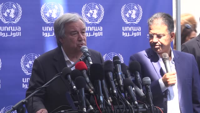 United Nations Secretary General Antonio Guterres delivers a statement to the media members during a visit to a UN School in Beit Lahia in the...