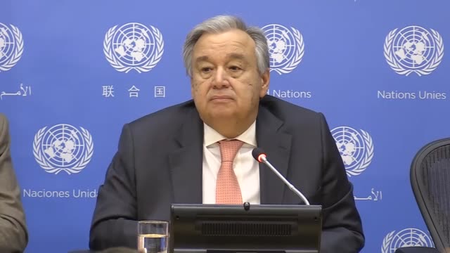 United Nations Secretary General Antonio Guterres holds a press conference at the United Nations Headquarters in New York United States on January 16...