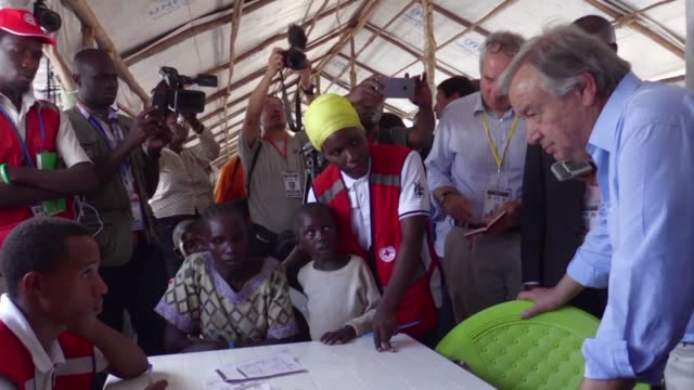 united nations secretary general antonio guterres visits a refugee settlement in northern uganda ahead of a fundraising summit in kampala aimed at... - kampala stock videos & royalty-free footage