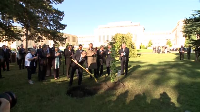 United Nations Secretary General Ban Kimoon takes part in a tree planting ceremony in the Ariana Park at the UN Offices in Geneva Switzerdland on...