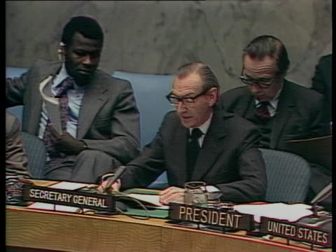 united nations secretary general kurt waldheim talks about the need for negotiations to avoid hostilities in the middle east. - 1974 stock videos & royalty-free footage