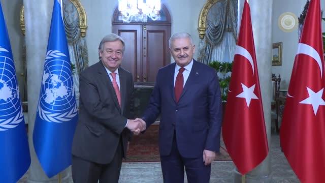 united nations secretarygeneral antonio guterres meets with turkish prime minister binali yildirim within his twoday visit to turkey on february 10... - binali yildirim stock-videos und b-roll-filmmaterial