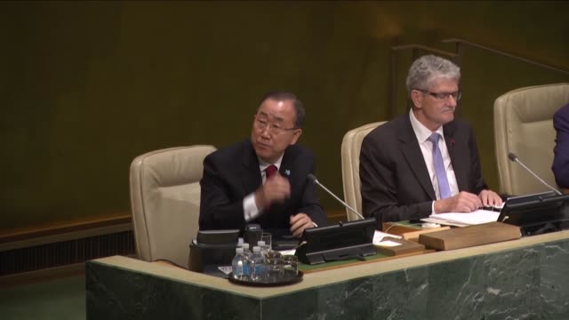 united nations secretarygeneral ban kimoon addresses the 70th session of the united nations general assembly at un headquarters on september 28 2015 - 2015点の映像素材/bロール