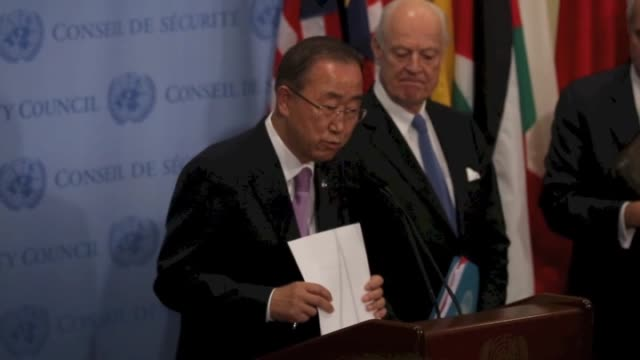 united nations secretary-general ban ki-moon and un special envoy for syria, staffan de mistura hold a media conference after a un security council... - secretary general stock videos & royalty-free footage