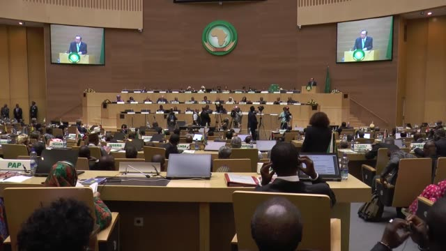 united nations secretary-general ban ki-moon delivers a speech during the 26th african union summit at the african union headquarters in addis ababa,... - アジスアベバ点の映像素材/bロール