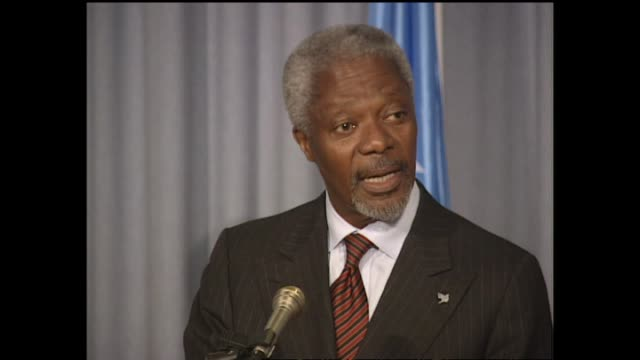 united nations secretary-general kofi annan delivers press conference during visit to new zealand. - secretary general stock videos & royalty-free footage