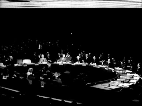 united nations security council delegates raising arms during vote / united nations flag on flagpole / seated spectator crowd during un security... - 1951 bildbanksvideor och videomaterial från bakom kulisserna