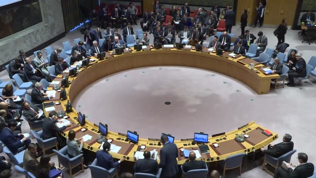 united nations security council holds emergency meeting following reports of a chemical weapons attack in syria, at un headquarters on april 09, 2018... - united nations stock videos & royalty-free footage