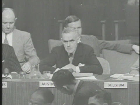 stockvideo's en b-roll-footage met united nations security council in session australian delegate william hodgson soviet representative andrei gromyko syrian rep faris elkhouri... - 1900 1909