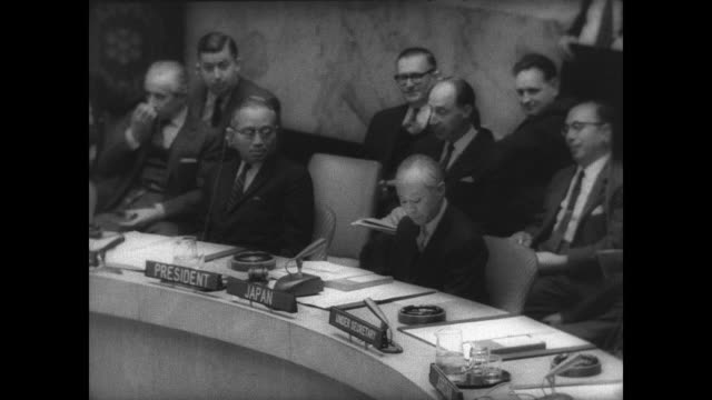United Nations Security Council meets to discuss Vietnam situation / delegates seated around a horseshoe shaped table / CU Ambassador Arthur Goldberg...