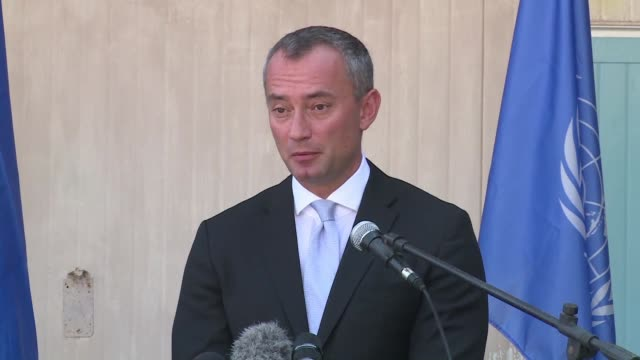 united nations special coordinator for the middle east peace process nikolay mladenov held a press conference at the unesco headquarters in gaza city - unesco stock videos & royalty-free footage