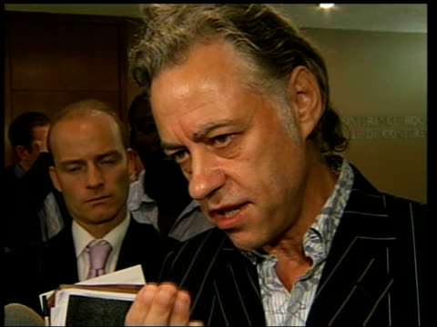geldof/blair joint press conference on poverty/aid bob geldof speaking to press sot it will be so bad a result if nothing comes out of it because... - bob geldof stock videos & royalty-free footage