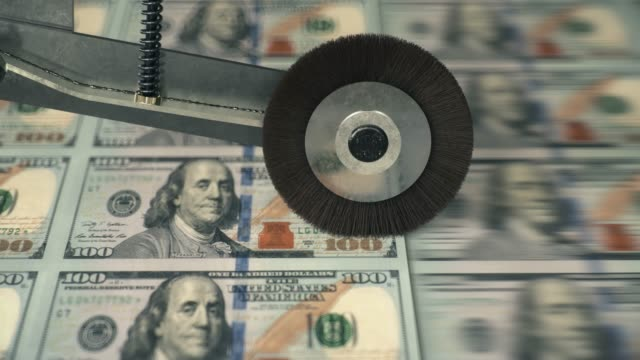 united states 100 dollar banknotes being printed - economia video stock e b–roll