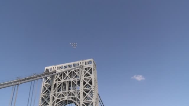 united states air force thunderbirds fly over george washington bridge on july 4th on - salmini stock videos & royalty-free footage