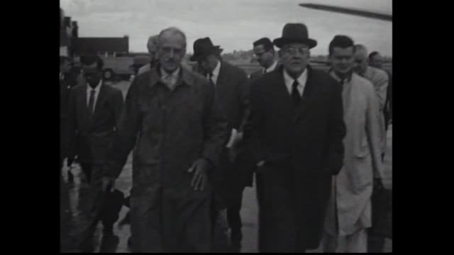 United States Airforce twin propellor plane taxies / US Secretary of State John Foster Dulles arrives in Australia for the SEATO Conference down...