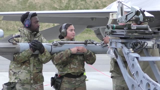 united states and european aircraft conduct flight operations in support of arctic challenge exercise at kallaz air base, sweden, 30 may 2019.... - britisches militär stock-videos und b-roll-filmmaterial