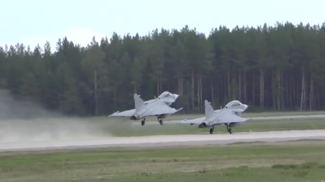 united states and european aircraft conduct flight operations in suport of arctic challenge exercise at kallaz air base, sweden, 30 may 2019.... - fighter stock videos & royalty-free footage
