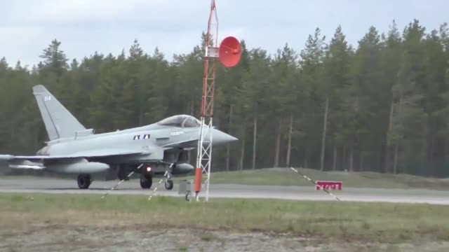 United States and European aircraft conduct flight operations in support of Arctic Challenge Exercise at Kallaz Air Base Sweden 30 May 2019 Aircraft...