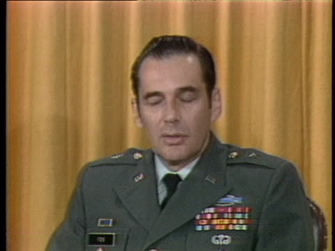 vídeos de stock e filmes b-roll de united states army brigadier general eugene fox describes the successful last flight of the interceptor missile defense system. - ministério da defesa dos estados unidos