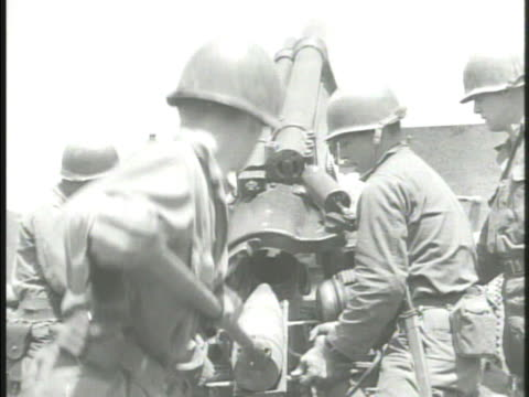 united states artillery regiment firing longrange artillery cannons from city of seoul la ws south korean flag a top of damaged dome building w/... - regiment stock videos and b-roll footage