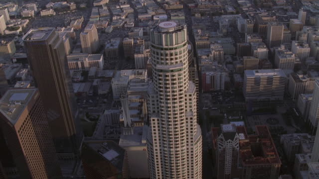AERIAL United States Bank Tower with rooftop heliport in downtown Los Angeles / California, United States