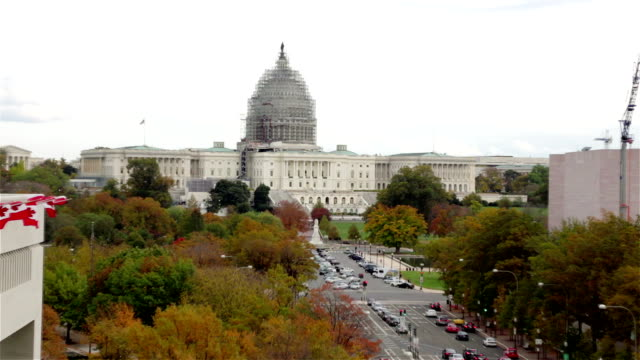 United States Capitol and Pennsylvania Avenue, Washington DC - Zoom Out Wide