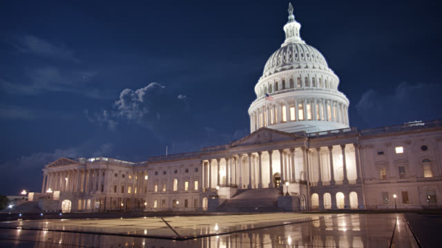 united states capitol at night - united states congress stock videos & royalty-free footage