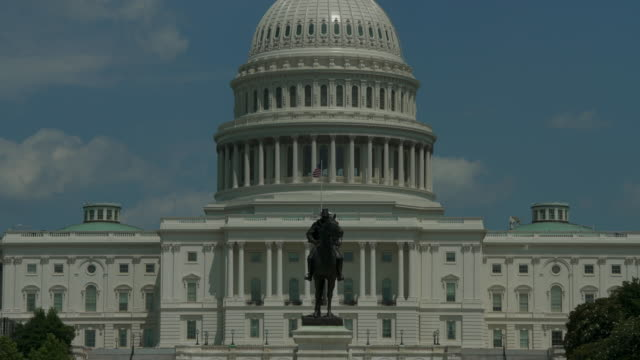 united states capitol dome & grant statue zoom out in washington, dc - 4k/uhd - senate stock videos and b-roll footage