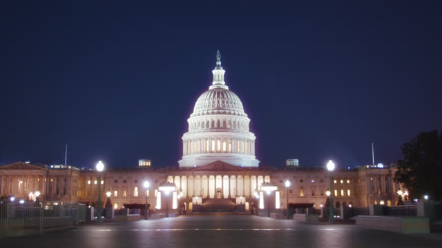 united states capitol. night. grand view. - united states congress stock videos & royalty-free footage