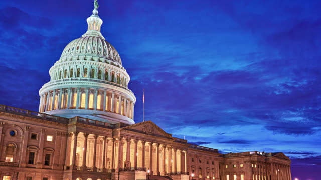 united states capitol. night. time lapse. - senate stock videos & royalty-free footage