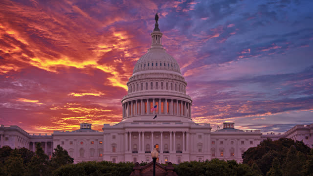 united states capitolю sinister view. sunrise. - american politics stock videos & royalty-free footage