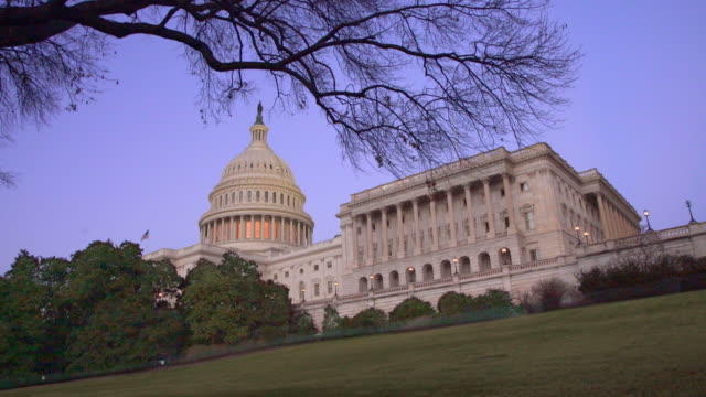 united states capitol west house of representatives wing at dusk in washington, dc - 4k/uhd - house of representatives stock videos & royalty-free footage