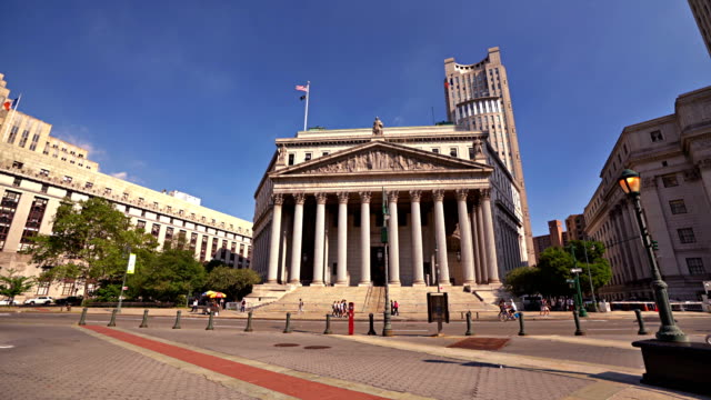 stockvideo's en b-roll-footage met verenigde staten court house, new-york county supreme court, foley square - gerechtsgebouw