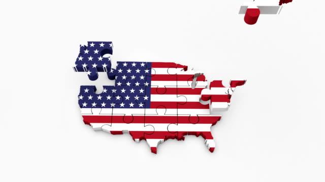 アメリカ合衆国旗。パズル - アメリカ国旗 4 k。 - パズル点の映像素材/bロール
