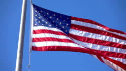 United States flag waving in the wind in slow motion 120fps