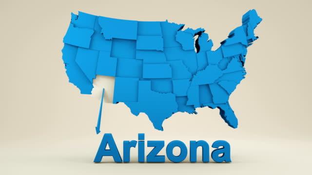 vidéos et rushes de carte des états-unis, état de l'arizona - montrer la voie