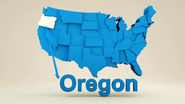 vídeos y material grabado en eventos de stock de mapa de estados unidos, estado de oregón - oregon us state