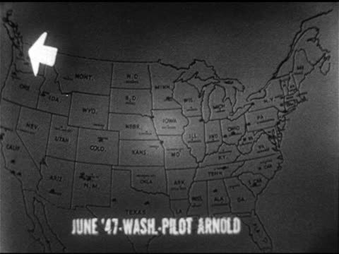 vídeos de stock, filmes e b-roll de united states map w/ pins unexplained highlighting areas 1947 washington state pilot sees nine saucers 1948 over fort knox fighter pilots chase cone... - ufo