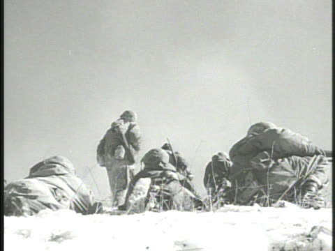 united states marines 1st division 7th division soldiers in defensive positions on top of hill advancing w/ weapons rocket launchers north korea red... - reservoir stock videos & royalty-free footage