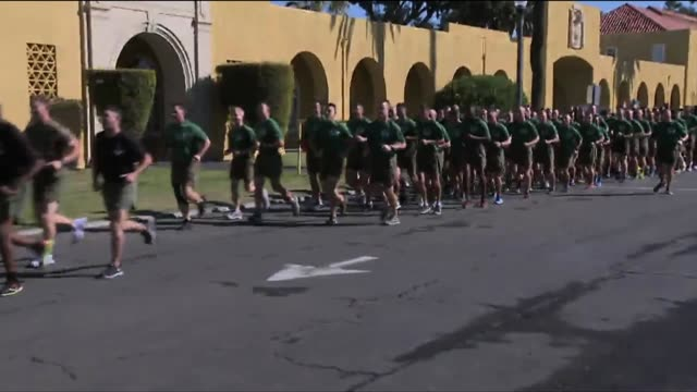 united states marines during a group run - military recruit stock videos & royalty-free footage